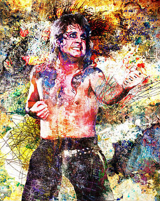 Ozzy Osbourne Original  Print by Ryan Rock Artist