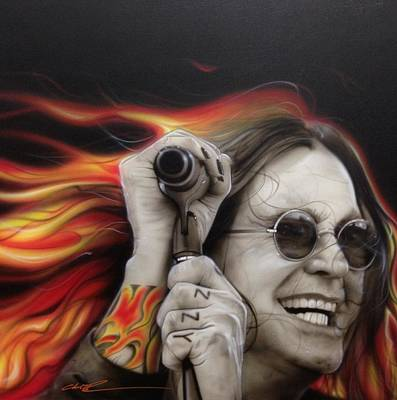 Glass Painting - Ozzy Osbourne - ' Ozzy's Fire ' by Christian Chapman Art