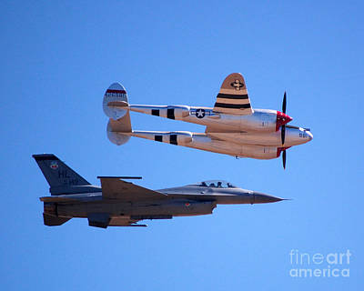 Photograph - P-38 And Jet by Debra Thompson
