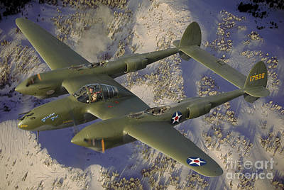 Transportation Royalty-Free and Rights-Managed Images - P-38 Lightning Flying Over Northern by Phil Wallick