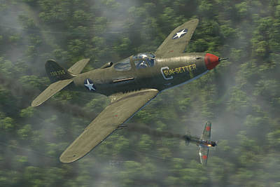 Fighter Aircraft Digital Art - P-39 Airacobra Vs. Zero by Robert Perry