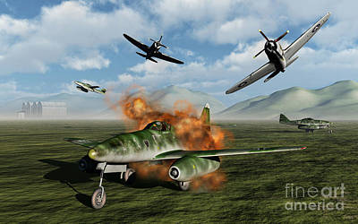 P-47 Thunderbolts Attacking A German Art Print