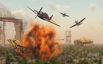 P-47 Thunderbolts Attacking German Art Print by Stocktrek Images