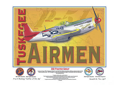 P-51 D Tuskegee Airmen Art Print by Kenneth De Tore
