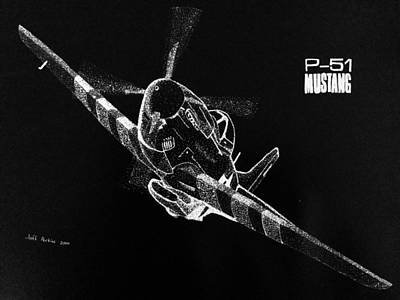 P51 Drawing - P-51 Fly By by Jeff Perkins