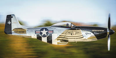 Us Army Fighters Photograph - P-51 Mustang Flyby by Brian Young