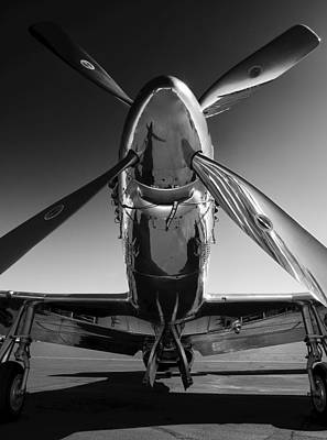 White Photograph - P-51 Mustang by John Hamlon