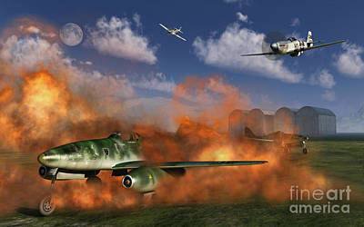 Destruction Digital Art - P-51 Mustang Planes Attacking A German by Mark Stevenson