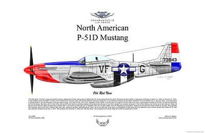 P-51d Mustang Old Red Nose Art Print by Arthur Eggers