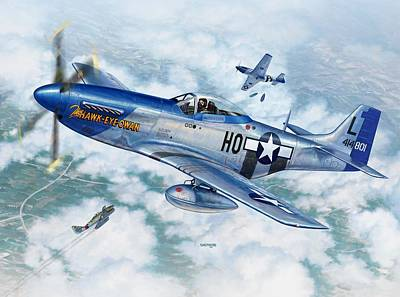Hawk Digital Art - P-51d Mustang The Hawk-eye-owan by Stu Shepherd