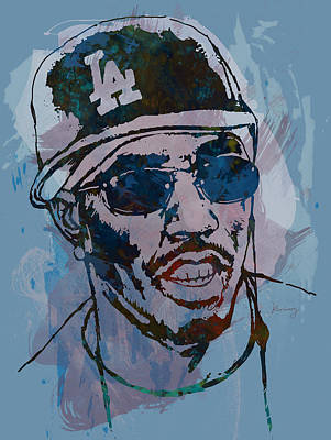 Harlem Wall Art - Drawing - P Diddy - Stylised Etching Pop Art Poster by Kim Wang