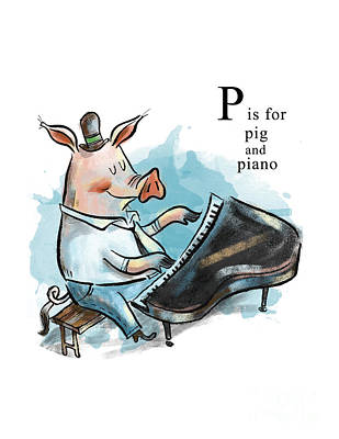 Piano Painting - P Is For Pig by Sean Hagan