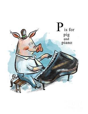P Is For Pig Art Print by Sean Hagan