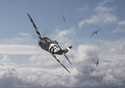 Thunderbolt Photograph - P47- Fw190 - Carousel by Pat Speirs