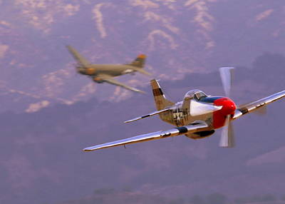 Photograph - C47 Skytrain With Her P51 Mustang Escort by John King
