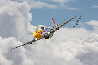 P51 Mustang And Me 262 Art Print by Pat Speirs