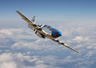 P51 Mustang - Symphony In Blue Art Print by Pat Speirs