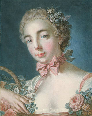 Head Of Flora Art Print by Francois Boucher