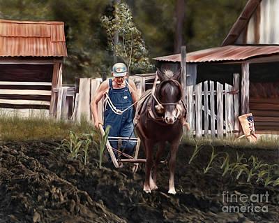 Painting - Pa Dee Plowing by Linda Gleason Ritcie
