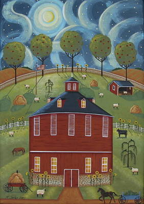 Pennsylvania Farm Painting - Pa Round Barn by Mary Charles