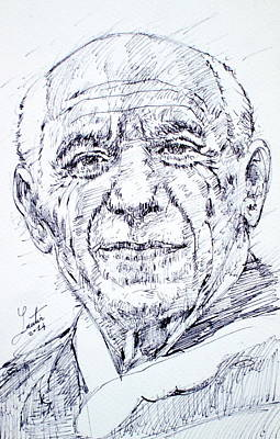 Pablo Picasso - Drawing Portrait Art Print by Fabrizio Cassetta