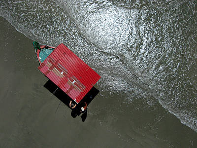 Aerial Photograph - Pablo's Red Boat From Overhead by Rob Huntley