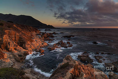 Pacific Coast Golden Light Print by Mike Reid