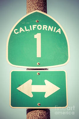 Nostalgic Sign Photograph - Pacific Coast Highway Sign California State Route 1  by Paul Velgos