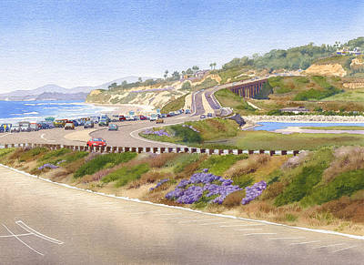 California Coast Painting - Pacific Coast Hwy Del Mar by Mary Helmreich