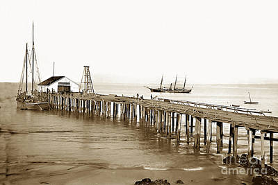 Photograph - Pacific Coast Steamship Co. Wharf Monterey Circa 1880 by California Views Mr Pat Hathaway Archives