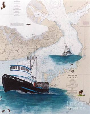 Prowler Painting - Pacific Dream Crab Fishing Boat Nautical Chart Art by Cathy Peek