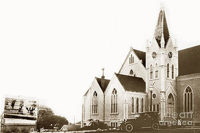 Photograph - Pacific Grove Methodist Church On Lighthouse Ave With Bull Durham 1932 by California Views Archives Mr Pat Hathaway Archives
