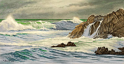 Surf Painting - Pacific Grove Seascape by Paul Krapf