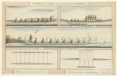 Pacific Island Canoes And Peoples, 1791 Art Print by Natural History Museum, London