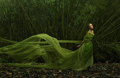 Green Color Photograph - Pacific Islander Woman In Flowing Green by Colin Anderson Productions Pty Ltd