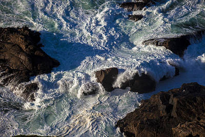 Sonoma Coast Photograph - Pacific Ocean Against Rocks by Garry Gay
