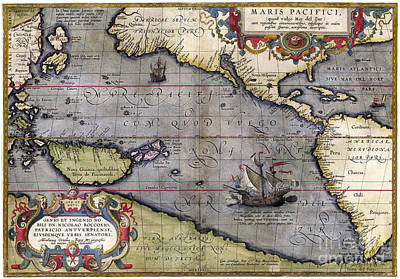 Pacific Ocean Drawing - Pacific Ocean By Abraham Ortelius - 1589 by Pablo Romero