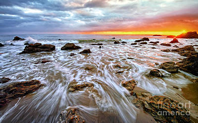 Photograph - Pacific Surf And Sunset by Charline Xia