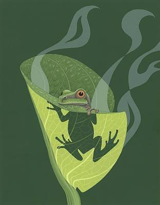 Tree Frogs Painting - Pacific Tree Frog In Skunk Cabbage by Nathan Marcy