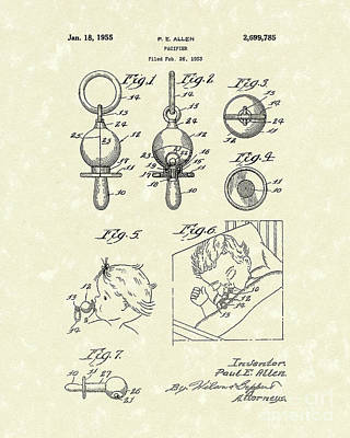 Drawing - Pacifier 1955 Patent Art by Prior Art Design
