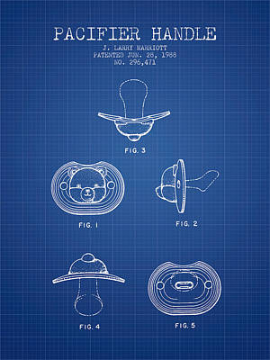 Baby Digital Art - Pacifier Handle Patent From 1988 - Blueprint by Aged Pixel