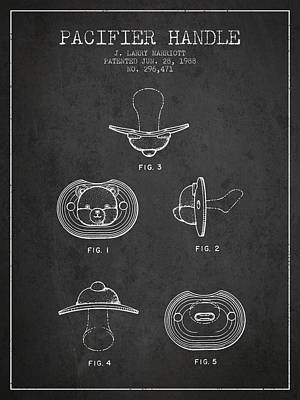 Pacifier Handle Patent From 1988 - Charcoal Art Print by Aged Pixel