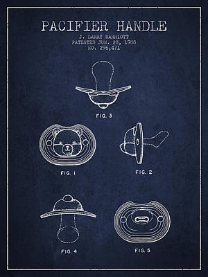 Baby Digital Art - Pacifier Handle Patent From 1988 - Navy Blue by Aged Pixel