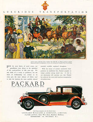 Packard 1930 1930s Usa Cc Cars Horses Art Print by The Advertising Archives