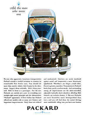 Packard Automobile - Vintage Poster Art Print by World Art Prints And Designs