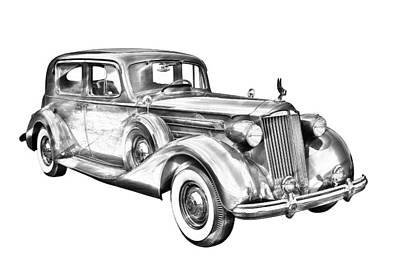 Packard Luxury Antique Car Illustration Art Print by Keith Webber Jr