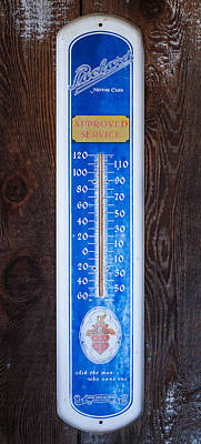 Photograph - Packard Motor Car Sign And Thermometer by Roger Mullenhour