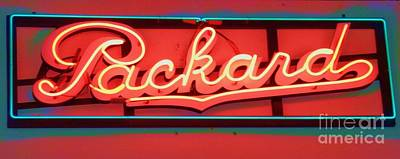 Photograph - Packard Sign Aglow by Barbie Corbett-Newmin