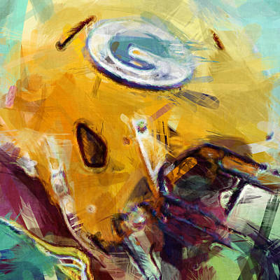 Sports Royalty-Free and Rights-Managed Images - Packers Art Abstract by David G Paul