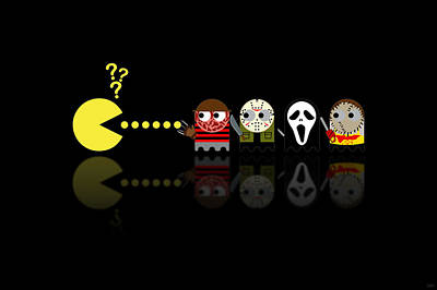 Scream Digital Art - Pacman Horror Movie Heroes by NicoWriter